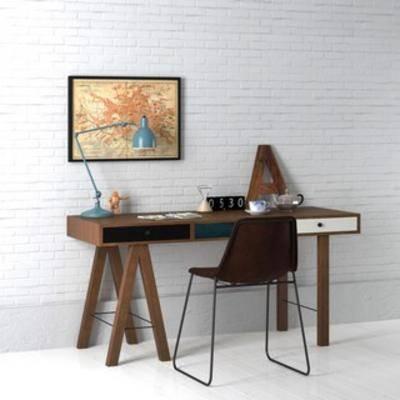 桌椅组合, 北欧桌椅组合, 书桌椅组合, 北欧书桌组合, 国外模型, 北欧, 下得乐3888套模型合辑