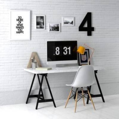 桌椅组合, 现代书桌, 现代桌椅, 书桌椅组合, 现代书桌椅组合, 装饰画组合, 国外模型, 现代, 下得乐3888套模型合辑