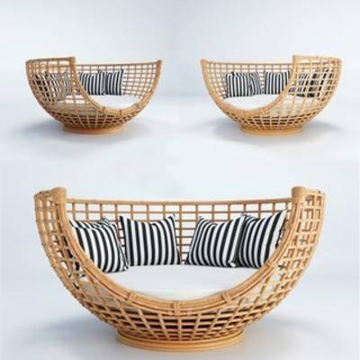 竹藤休闲椅, 现代竹藤椅, 现代休闲椅, 现代椅子, 休闲椅