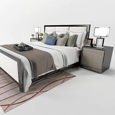 中式双人床, 实木双人床, 布艺床具, 床具组合