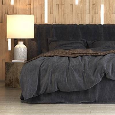简约双人床, 北欧双人床, 北欧简约, 床具组合