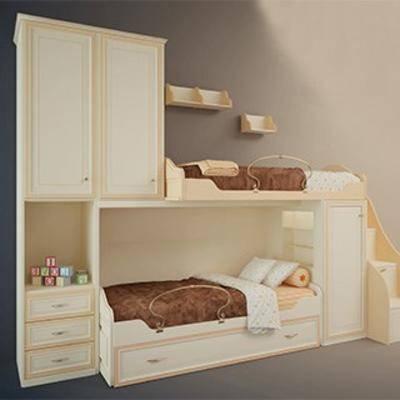 实木双层床, 现代实木床, 现代实木双层床, 现代简约