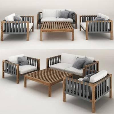 北欧, 沙发椅, 抱枕, 单椅, 桌几
