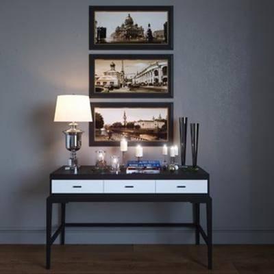 现代风格, 现代装饰品, 现代边柜, 装饰画组合, 边柜装饰组合, 下得乐3888套模型合辑