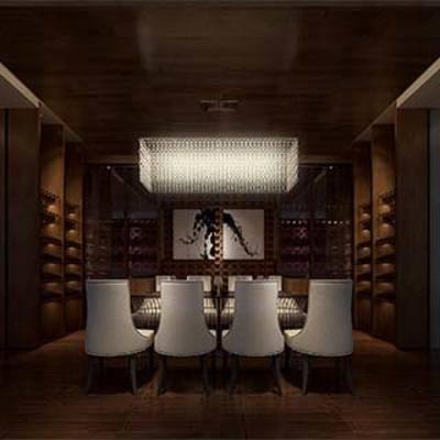 新古典, 品酒室, 单椅, 餐桌, 吊灯, 酒架
