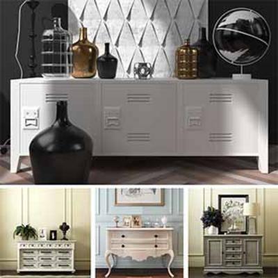 模型合集, 边柜装饰品组合, 装饰品组合, 装饰品, 边柜, 现代风格
