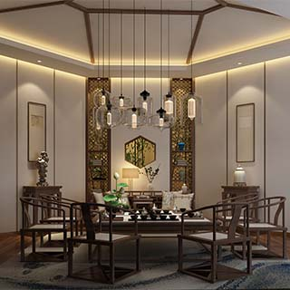 新中式风格茶室图片