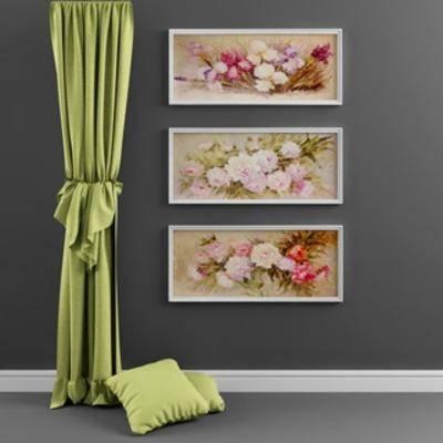 现代窗帘, 装饰画组合, 装饰画, 抱枕, 窗帘