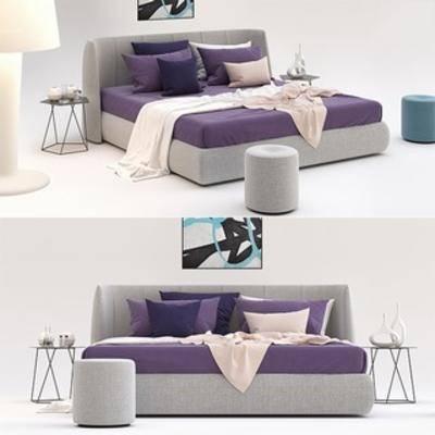 床具组合, 北欧简约, 布艺床具, 北欧床具组合, 下得乐3888套模型合辑