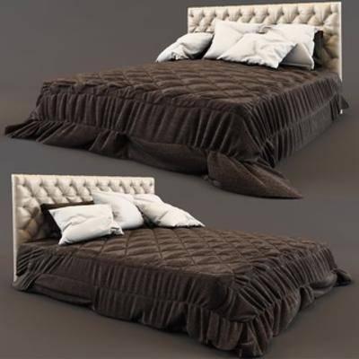 欧式双人床, 布艺床具, 欧式简约