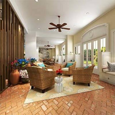美式会客厅, 美式田园, 卡座, 接待厅, 休闲椅, 扮家家-积分兑换300套模型【四】
