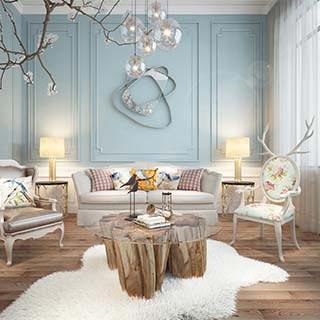 美式现代简约沙发茶几组合