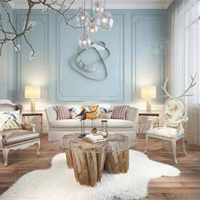 沙发茶几, 现代简约, 美式沙发, 现代装饰品, 美式沙发椅, 现代简约茶几, 美式, 下得乐3888套模型合辑