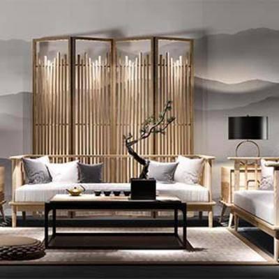 沙发茶几, 中式风格, 中式茶几, 中式沙发, 新中式, 下得乐3888套模型合辑