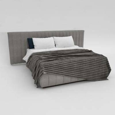 布艺双人床, 北欧双人床, 布艺床具, 北欧简约