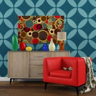 现代, 沙发, 置物柜, 摆件, 活泼, 台灯