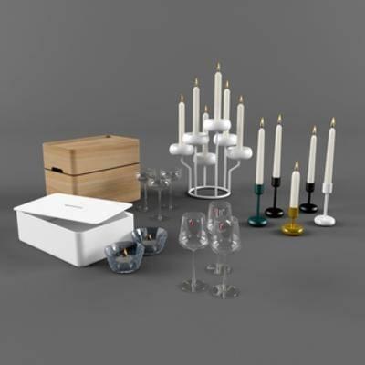 陈设品组合, 红酒杯, 摆设品组合, 蜡烛, 现代