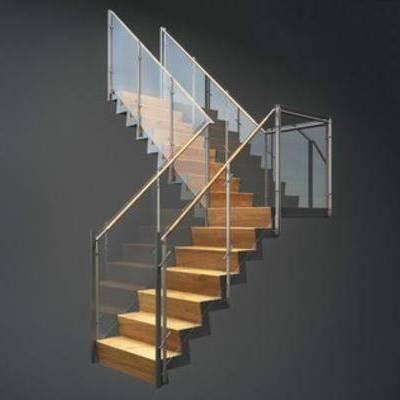 loft现代楼梯, 玻璃护栏