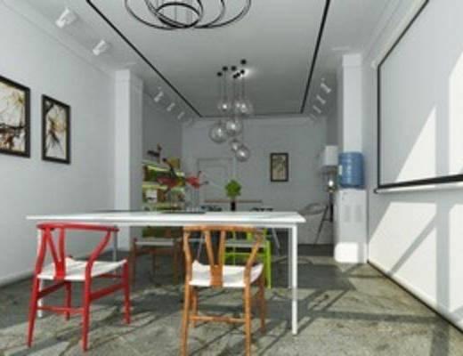 现代简约, 办公室, 客厅, 装饰画组合, 工作室