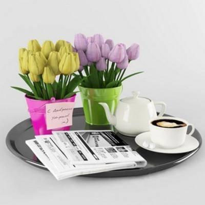 陈设品组合, 摆设品组合, 咖啡杯, 现代, 盆栽