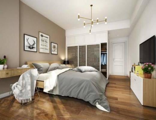 现代, 简约, 卧室, 吊灯, 挂画, 床, 床头柜, 台灯, 衣柜, 下得乐3888套模型合辑