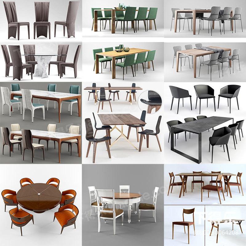 27套下得乐餐桌椅模型合集,桌子