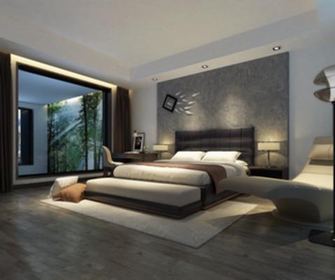 现代, 卧室, 墙饰, 床, 床头柜, 台灯, 窗帘, 抱枕, 地毯, 下得乐3888套模型合辑