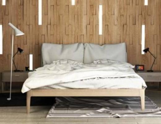 床头柜, 灯, 实木, 床具组合, 北欧简约