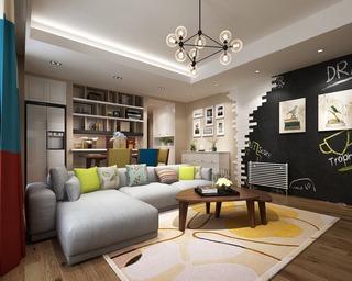 沙发组合,书柜,灯,现代简约风格客厅