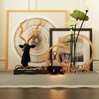 花瓶,蜡烛,现代摆设品组合,画