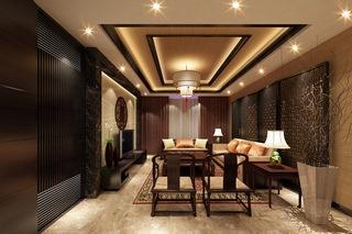 沙发,古典,屏风,茶几,灯,中式风格客厅