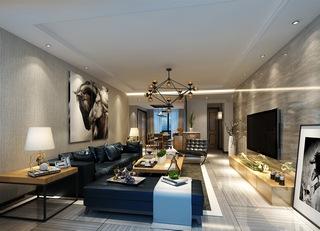 沙发组合,茶几,边柜,灯,明亮,现代简约风格客厅