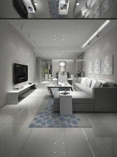 沙发组合,边柜,后现代风格客厅,明亮,宽敞