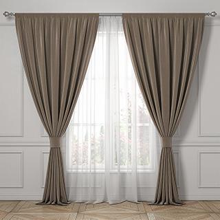 现代棕色布艺窗帘