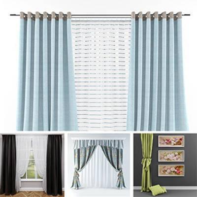 模型合集, 欧式窗帘, 现代窗帘, 布艺窗帘, 窗帘, 现代简约