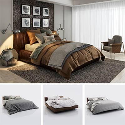 模型合集, 北欧双人床, 布艺床具, 北欧简约, 双人床