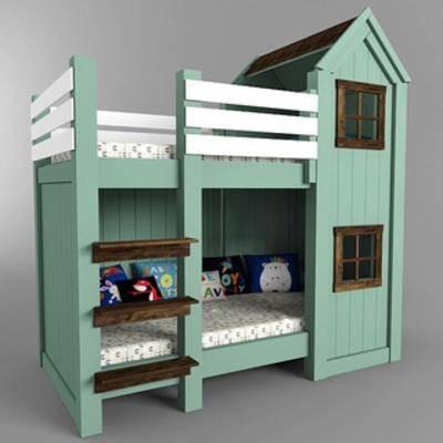 现代实木, 双层床, 儿童床