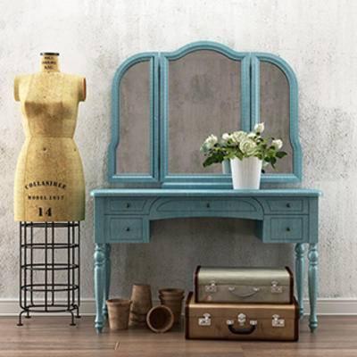 摆设品, 田园, 梳妆台, 美式风格, 下得乐3888套模型合辑