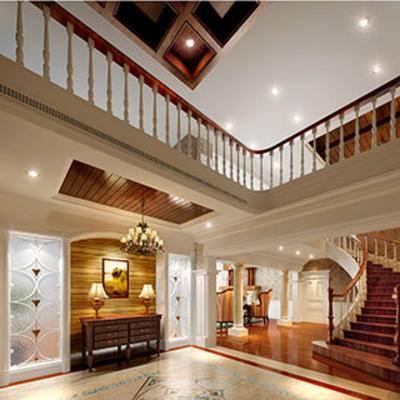 摆设品, 欧式简约, 灯, 边柜, 楼梯, 复式, 玄关, 欧式椅子