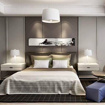 现代, 卧室, 吊灯, 床, 床头柜, 台灯, 单椅, 挂画, 地毯