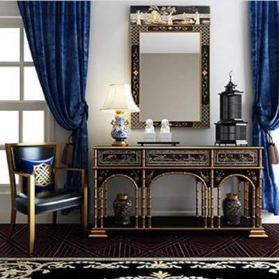 新古典, 边柜, 灯, 单人椅, 摆设品, 现代窗帘, 下得乐3888套模型合辑