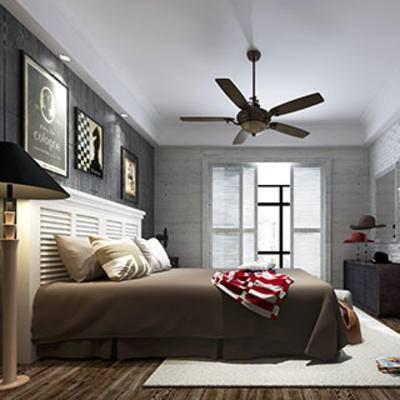 美式, 卧室, 吊扇, 地毯, 窗帘, dt挂画, 落地灯, 置物柜