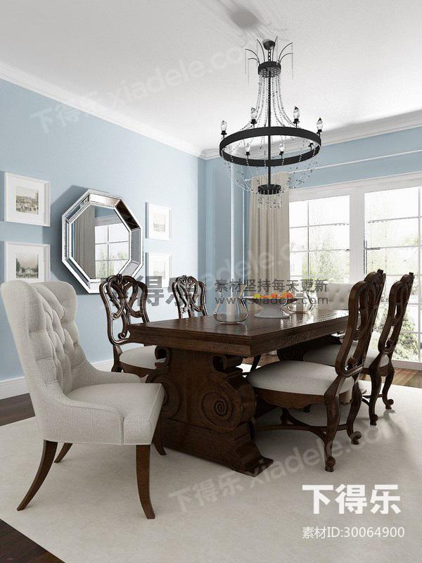 美式餐桌椅子组合