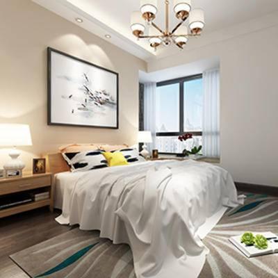 灯, 床头柜, 窗帘, 现代卧室, 卧室, 床, 现代, 简约, 台灯, 吊灯