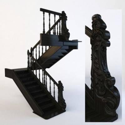 美式风格, 楼梯, 雕塑, 实木