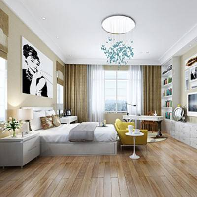 现代, 卧室, 吊灯, 床, 床挂画, 单椅, 窗帘, 电视柜, 书架, 缠绕管, 台灯