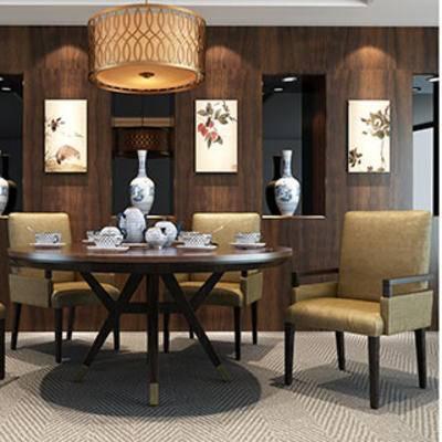 中式, 桌椅组合, 置物架, 边柜, 灯, 装饰画组合, 摆设品