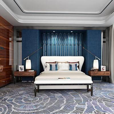 现代, 床, 床头柜, 台灯, 地毯, 窗帘