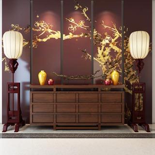 中式风格边柜落地灯摆设品组合