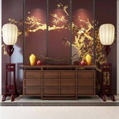中式, 落地灯, 组合, 屏风, 边柜, 摆设品